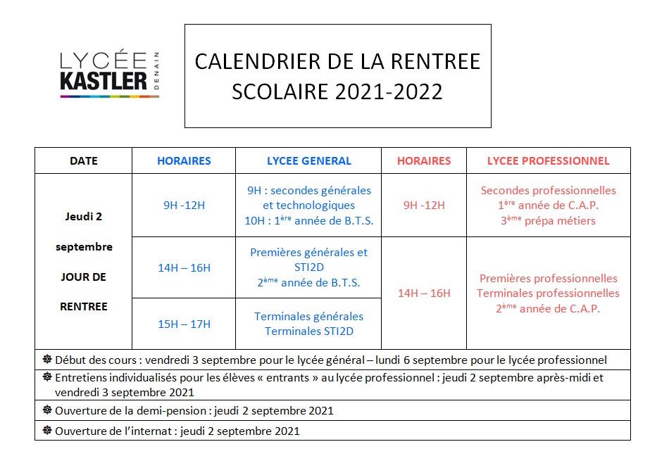 Calendrier Pension 2022 ENT Hauts de France » Calendrier rentrée scolaire septembre 2021